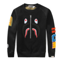 Bape Aape Autumn And Winter Fashion New Shark Tiger Print Women Men Long Sleeve Top Sweater Black