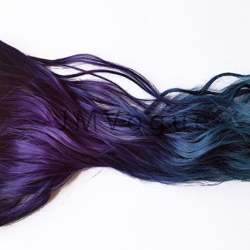 Deepest Mermaid Weft Weave Sewin Ombre 100% Human Hair Extensions Dip Dyed Dark Purple Blue Aqua Teal Green Tie Dye