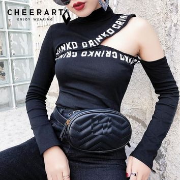 Cheerart Harajuku Punk Rock High Neck Top Balck Letter Print Hollow Out Cold Shoulder Black Sexy T Shirt Autumn 2018