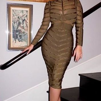 Shameless Flirt Light Olive Green Gold Studded Long Sleeve Sheer Mesh Stripe Crew Neck Bandage Midi Dress