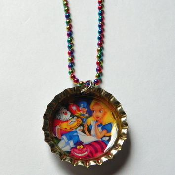 Alice in Wonderland Bottle Cap Necklace   by SweetSpecialBoutique