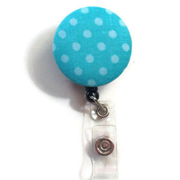 Fabric Covered Retractable Badge Reel Turquoise Polka Dot Patterned Keychain Lanyard