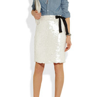 J.Crew | Floral-sequined silk skirt | NET-A-PORTER.COM