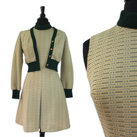 Vintage Retro Geometric Beige & Green Dress - 1960s Size Small Dress, Matching Jacket / Lines, Dots