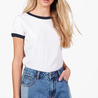 Harriet Cotton Ringer Basic T-Shirt | Boohoo
