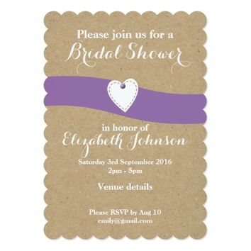 Bridal Shower Card Kraft Purple