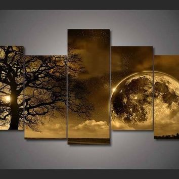 HD Printed Celestial Body Canvas Painting 5 Piece Wall Art Modular Picture Home Decor Wall Pictures For Living Room Oil Painting