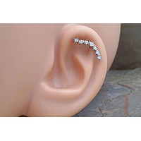 Opalite Silver Ear Climber Cartilage Earring