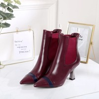 FENDI Female 2020 New Leather knight boot Winter Logo-jacquard stretch-knit  Heels Shoes Boots Top quality red