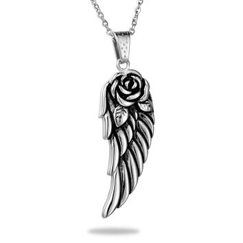 Rose Angel Wings Necklace For Men Stainless Steel Antique Silver Vintage Steampunk Men's Necklaces Pendants Charm Men Jewelry