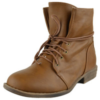 Womens Ankle Boots Fur Lining Simple Lace Up Shoes Cognac SZ