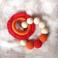 Red crochet teething beads, Baby gift for a girl, Valentines day baby toys