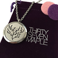 Essential Oil Diffuser Necklace with Cherry Blossom Design in Stainless Steel