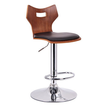 Baxton Studio Amery Modern Bar Stool Set Of 2 (Walnut & Black)