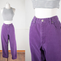 Purple Denim Jeans / High Waisted Jeans / Vintage 80s Jeans / Boyfriend Jeans / Soft Grunge Jeans / Relaxed Fit Mom Jeans / London Jean