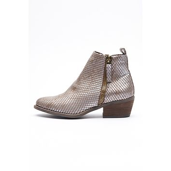 Stealthy Snakeskin Booties (Taupe)
