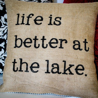 Burlap Cabin Pillow, Lake or Cabin Decor, North Woods Decor, Stenciled Pillow, Lake Decor, Rustic Pillow, Lake House, Beach House, Lake Home