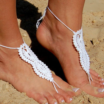 White Beach Wedding Shoes, Crochet Barefoot Sandals, Anklet, Wedding Accessories, Nude Shoes, Yoga socks, Foot Jewelry