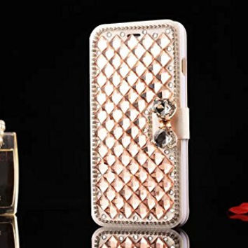 DeFaith - 5.5 inch iPhone 6 Plus Case - Premium Bling Bling Rhinestone Flip Folio Cover Case for iPhone 6 Plus (5.5 inch) Gold