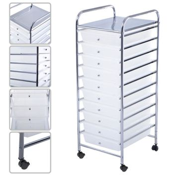 10 Drawer Rolling Storage Cart Scrapbook Paper Office School Organizer Clear HW52045CLEAR