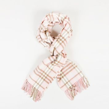"""Burberry Light Pink & Multicolor Cashmere """"House Check"""" Scarf"""