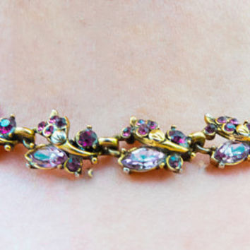 Vintage Valentine | Amethyst Choker Necklace | 1950's Hollycraft Jewelry | Amethyst Rhinestone | 17 inch necklace , wedding wear