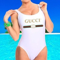 Gucci New Fashion Letter Print Red And Blue Stripe Swimsuit One Piece Bikini Suit Rose Red