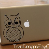 Olly the Owl Decal  Apple Macbook Vinyl Sticker by TazioDesigns