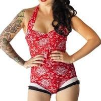 SALE Romper Halter Swimsuit in Red Bandana with Black and White Ruffles(S-XL)