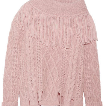 Philosophy di Lorenzo Serafini - Fringed off-the-shoulder cable-knit alpaca-blend sweater