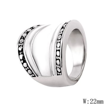 CA-50 Fashion Jewelry Hot Selling Silver Lifeline Pulse Heartbeat Band Ring for Women Simple Vintage Accessories