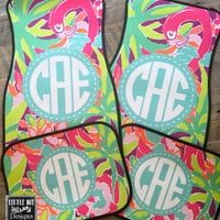 Car Mats Beach Personalized Monogrammed Floor Car Mat Initial Tropical Preppy Flowers