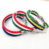 2014 Brazil World Cup soccer commemorative bracelet bangles, braided leather bracelet,  A man and a woman's bracelet ,QNW8087