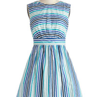 Emily and Fin Nautical Mid-length Sleeveless A-line Too Much Fun Dress in Blue Sea Stripes