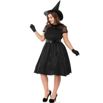Adult Women Halloween Witch Costume Wizard Of Oz Wicked Magic Black Pointed Hat Set Cosplay Party Gothic Dress For Ladies M-XXXL