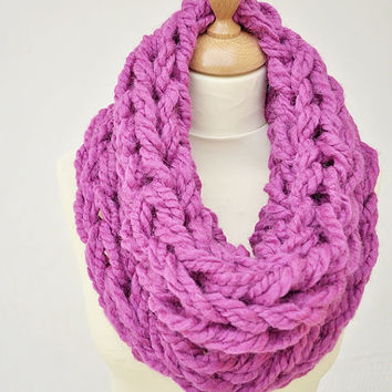 Hot Pink Cowl - Arm Knit Cowl - Chunky Knit Cowl - Women's Cowl - Hot Pink Arm Knit Cowl - Chunky Hand Knit Cowl
