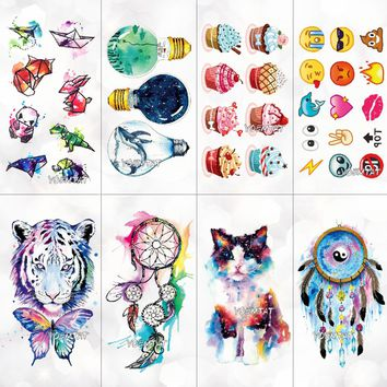 Watercolor cute tiger animal bulb pattern Temporary Fake Tattoo Body Art Sticker Waterproof Women Fashion Hand Tattoo Sticker