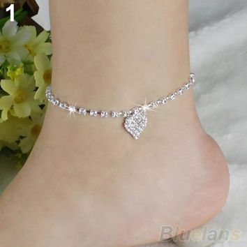 LMFUG3 Hot Multi-pattern Love Heart Star Wedding Sandal Beach Anklet Chain Foot Jewelry BW2C (Color: Silver) = 1932748356