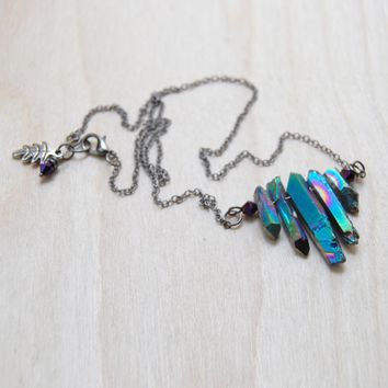 Rainbow Aura Crystal Necklace