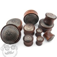 Rose Wood Plugs With Lotus Ornament Inlay