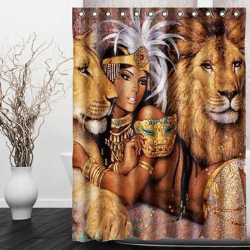 HOT!!!150X180cm Animals Beautiful African Woman With Lions Waterproof Bathroom Shower Curtain Wedding Gift Home Decor
