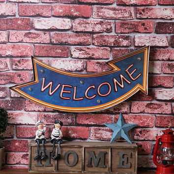 Welcome Neon Sign Led Neon Light Retro Bar Club Wall Decorations Hanging Plates