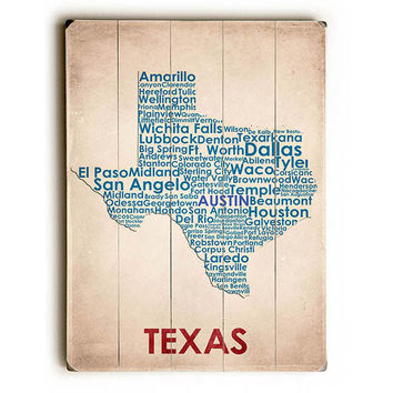 Texas Map by American Flat Wood Sign