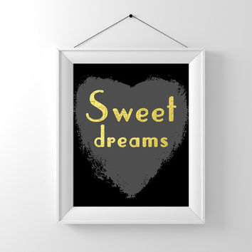Black and gold nursery decor art print. Sweet dreams with faux golf foil crackle effect. New baby gift or quirky bedroom decor. Uk art print
