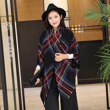 New Design Big Plaid Size Fashion Printed  Women Scarf  Warm Cotton Long Thick Ladies Shawls Hijab Winter Wrap Female Scarves