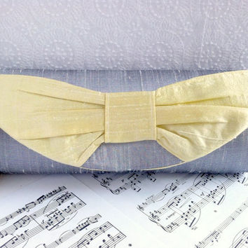 Platinum gray clutch bag, silk clutch with bow, bow clutch, yellow