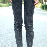Black Skinny Snow Dot Elasic Denim Leggings - Sheinside.com