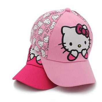 2017 KITTY Hat New snapback Summer Baseball Cap Kids Baby Girls Adjustable Caps Fashion hello kitty Minnie Children Hats
