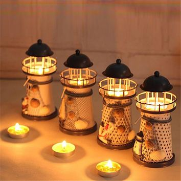 Lantern Candle Holder Vintage Mediterranean-Style Iron Tower