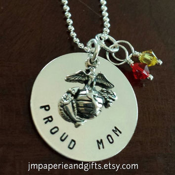"Proud Mom w/ Crystals - United States Marine Corps - Hand Stamped 18"" Sterling Silver Necklace (Official Hobbyist of the USMC)"